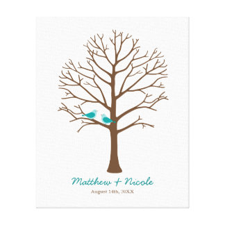 Teal Blue Brown Birds Fingerprint Tree Wedding Canvas Print