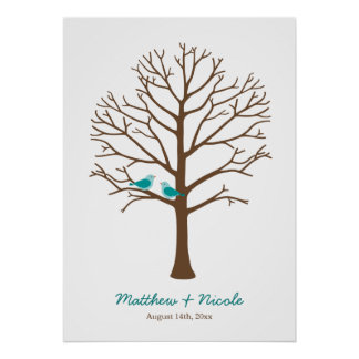 Teal Blue Brown Birds Fingerprint Tree Wedding Poster