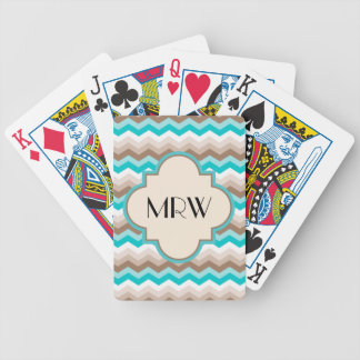 Teal Blue Brown Chevron Modern Monogram Bicycle Playing Cards