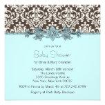 Teal Blue Brown Damask Baby Shower Custom Invite