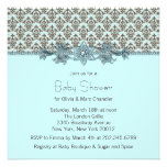 Teal Blue Brown Damask Baby Shower Personalised Announcement