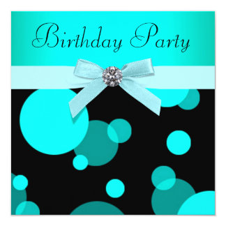 Teal Blue Bubbles Any Number Birthday Party 13 Cm X 13 Cm Square Invitation Card