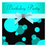 Teal Blue Bubbles Any Number Birthday Party Custom Invitation