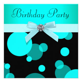 Teal Blue Bubbles Any Number Birthday Party Custom Announcements