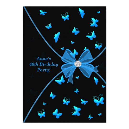 Teal Blue Butterfly 40th Birthday Party Invitation