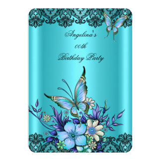 Teal Blue Butterfly Floral Black Lace Birthday 4.5x6.25 Paper Invitation Card