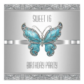 Teal Blue Butterfly Sweet 16 Birthday Party Card