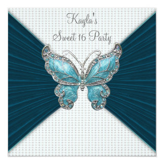 Teal Blue Butterfly Sweet Sixteen Birthday Party 13 Cm X 13 Cm Square Invitation Card