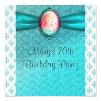 Teal Blue Cameo Womans 70th Birthday Party Announcements