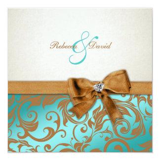 Teal Blue & Caramel Damask with diamond bow 13 Cm X 13 Cm Square Invitation Card