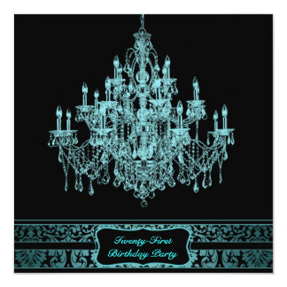 Teal Blue Chandelier Womans 21st Birthday Party 13 Cm X 13 Cm Square Invitation Card