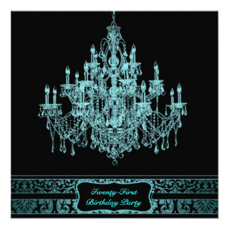 Teal Blue Chandelier Womans 21st Birthday Party Custom Invites