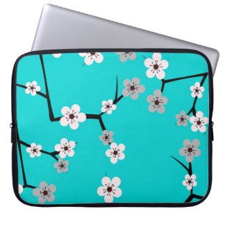 Teal Blue Cherry Blossom Print Laptop Sleeve