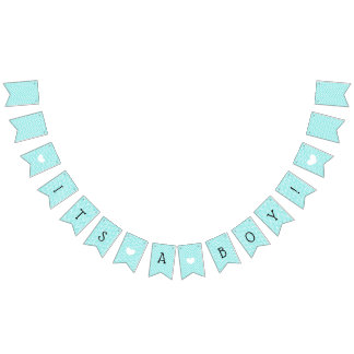 Teal Blue Chevron Its a Boy Baby Shower Bunting Bunting