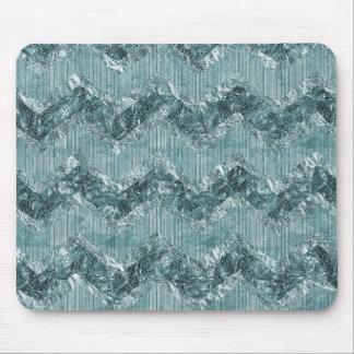 Teal Blue Chevron Zigzag Stripes Mouse Pad