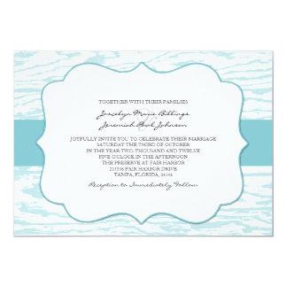 Teal Blue Chic Wood Grain Wedding Invitation