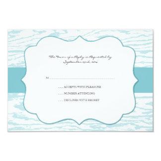 "Teal Blue Chic Wood Grain Wedding rsvp 3.5"" X 5"" Invitation Card"
