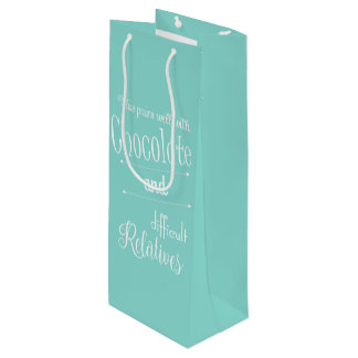 Teal Blue Chocolate And Wine Bottle Gift Bag