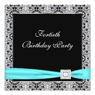 Teal Blue Classy Black 40th Birthday Party 13 Cm X 13 Cm Square Invitation Card