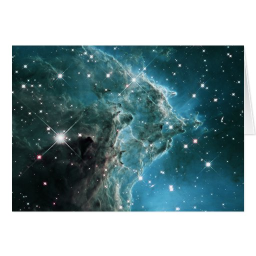 Teal Blue Colored Monkey Head Nebula Greeting Cards