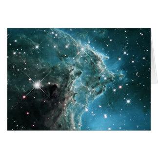 Teal Blue Colored Monkey Head Nebula Greeting Card