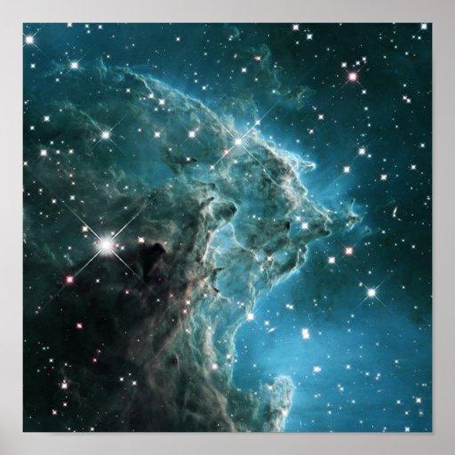 Teal Blue Coloured Monkey Head Nebula Poster