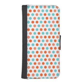 Teal Blue, Coral Orange White Polka Dots iPhone 5 Wallet Case