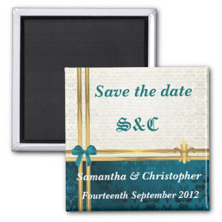 teal blue damask and gold ribbon save the date square magnet