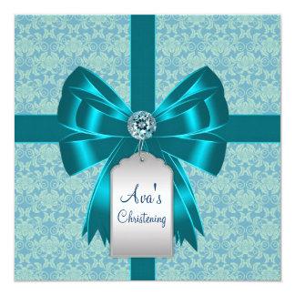 Teal Blue Damask Baby Baptism Christening 13 Cm X 13 Cm Square Invitation Card