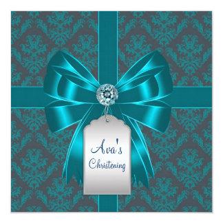 "Teal Blue Damask Baby Baptism Christening 5.25"" Square Invitation Card"