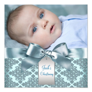 Teal Blue Damask Baby Boy Photo Christening 13 Cm X 13 Cm Square Invitation Card