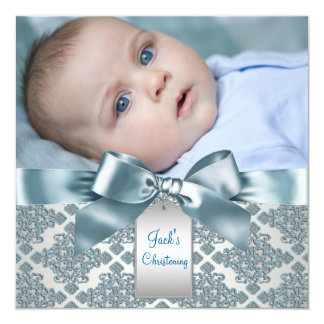 Teal Blue Damask Baby Boy Photo Christening Card