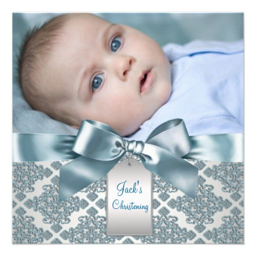 Teal Blue Damask Baby Boy Photo Christening Personalized Invites