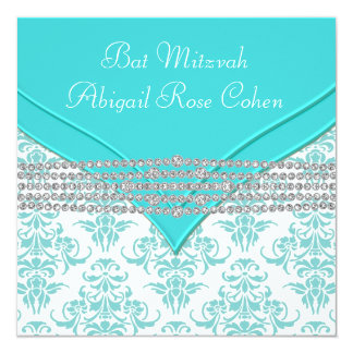 Teal Blue Damask Bat Mitzvah Card