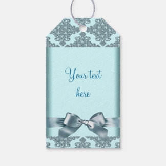 Teal Blue Damask Bow Gift Tags