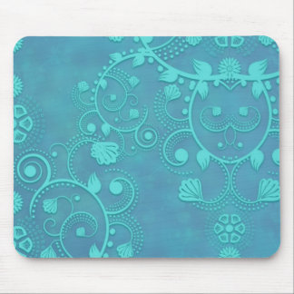 Teal Blue Damask Floral Design Mouse Pad