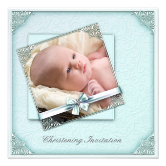Teal Blue Damask Girl Photo Christening Card