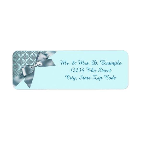 Teal Blue Damask Return Address Labels