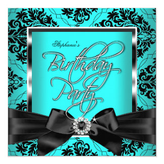 Teal Blue Damask Silver Black Birthday Party 13 Cm X 13 Cm Square Invitation Card