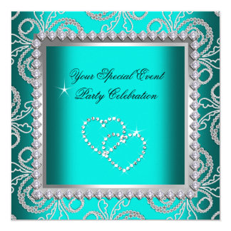 Teal Blue Damask Silver Diamonds Heart Party Card