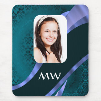 Teal blue damask swirl mouse pad