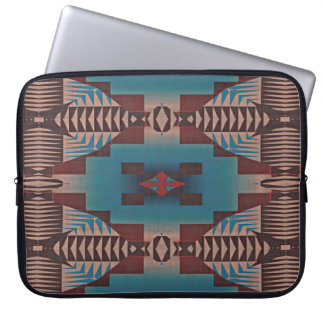 Teal Blue Dark Burgundy Red Tribal Mosaic Pattern Laptop Sleeve