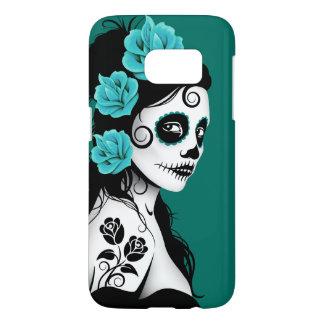 Teal Blue Day of the Dead Sugar Skull Girl