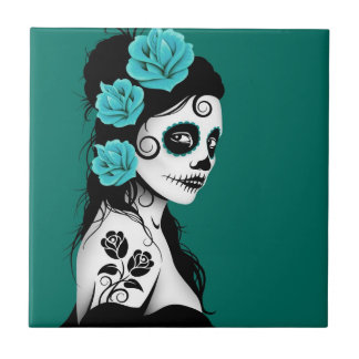 Teal Blue Day of the Dead Sugar Skull Girl Small Square Tile