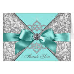 Teal Blue Diamond Bow Thank You Note Card
