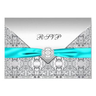 Teal Blue Diamond Wedding RSVP 9 Cm X 13 Cm Invitation Card