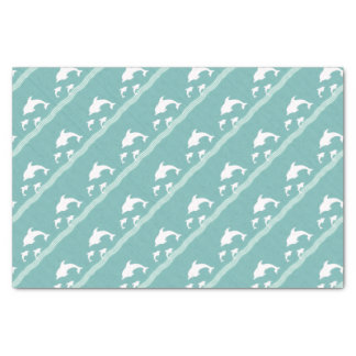 Teal Blue Dolphins At Play Tissue Paper