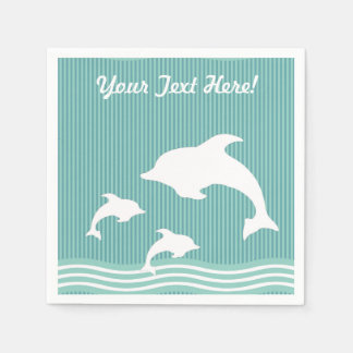 Teal Blue Dolphins At Play with Name Disposable Napkin