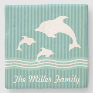Teal Blue Dolphins At Play with Name Stone Coaster