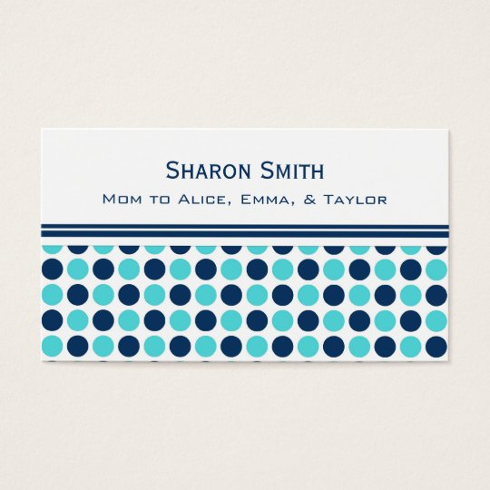 Teal Blue Dots Pattern Mum Calling Cards